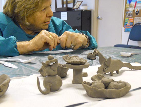 Arts & Crafts - Working with Clay - LChaim Adult Day Centre